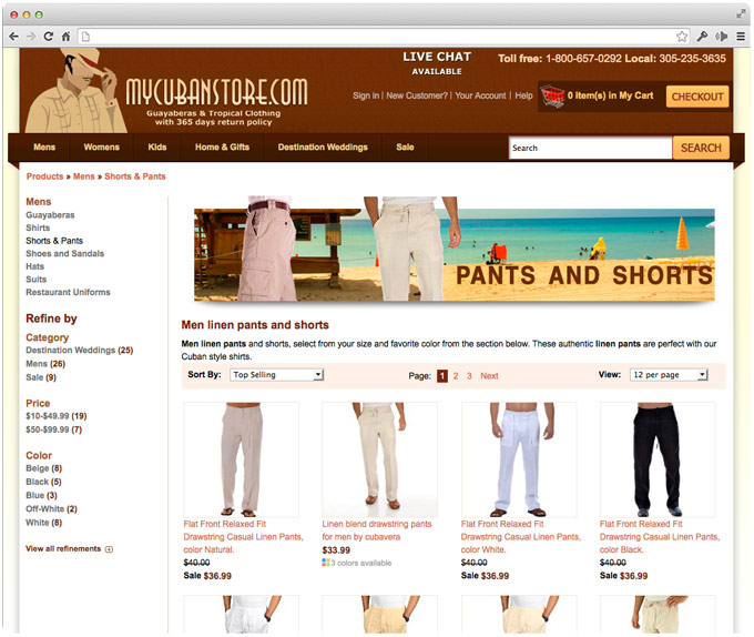 ecommerce apparel category landing page